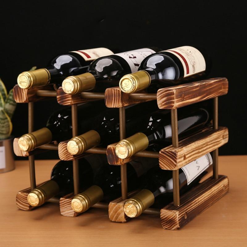 solid wood wine rack decoration wine holder home wine bottle rack creative diy wine cabinet display stand