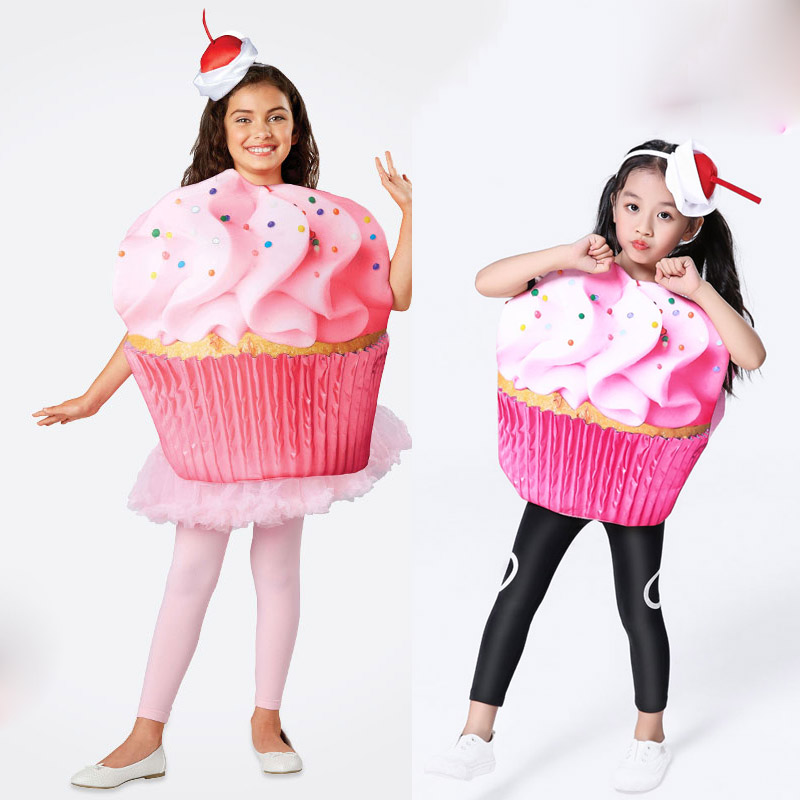 Cosplay Halloween Kids Cupcake Party Costume Fancy Dress Up Double Sided Ice Cream Costumes For Unisex Child Girls DN4286