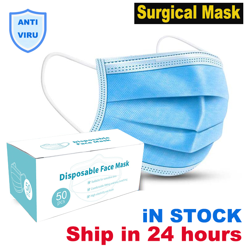 Non Woven Disposable Face Mask 3 Layer Disposable Safety Elastic Facial Dust-Proof Safety Surgical Mask Masks Medical Filter