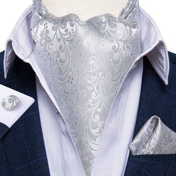 цена Luxury Men's Ascot Silver Floral Silk Necktie Cravat Pocket Square Cufflinks Set Wedding Party British Style Ascot Tie DiBanGu онлайн в 2017 году