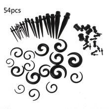 54Pcs Gauges Kit Ear Stretching 14G-00G Acrylic Spiral Taper Plugs Body Piercing