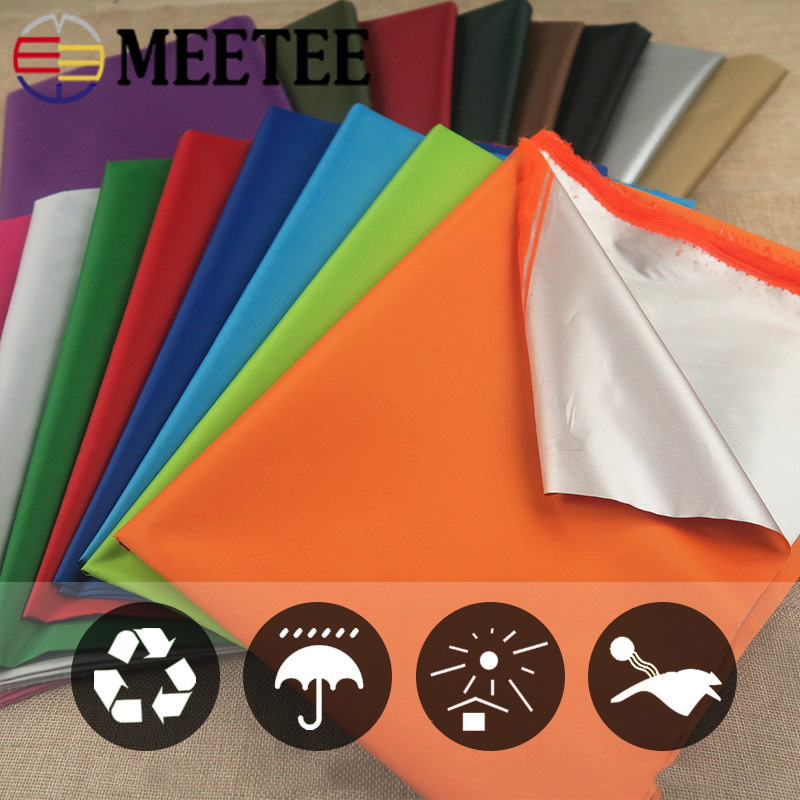 Meetee 200/400X140cm 210T Painted Silver Waterproof Polyester Fabric Shade Dust-proof Cloth for Umbrella DIY Tent Sew Material