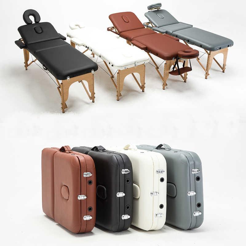 SPA güzellik salonu mobilyası estetisyen katlama yüz kirpik yatağı taşınabilir masaj masası dövme masaj yatağı çanta ile tabure sandalye