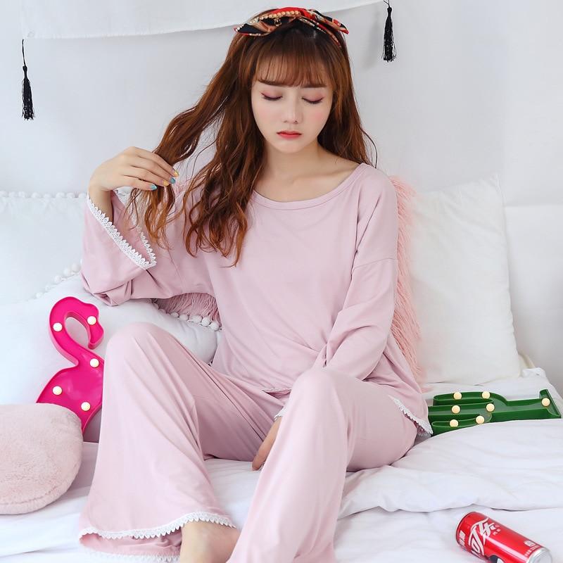 Autumn Long Sleeve Loose Pants Korean-style Cute Sweet Princess Style Pajamas Women's Fresh Students Casual Homewear Set