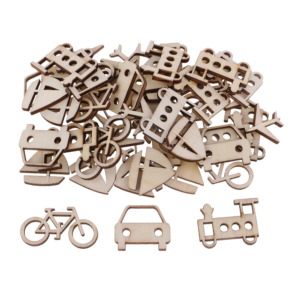 50 Pieces Unfinished Wood Vehicle Wooden Shapes Cutout Slices Scrapbooking Embellishments for DIY Crafts