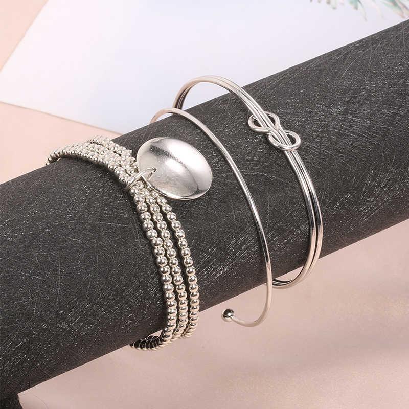 Богемия сплав многослойные Золотые Серебряные бусинки блестки набор браслет для женщин ювелирные изделия ножной браслет ножные браслеты, аксессуары подарок