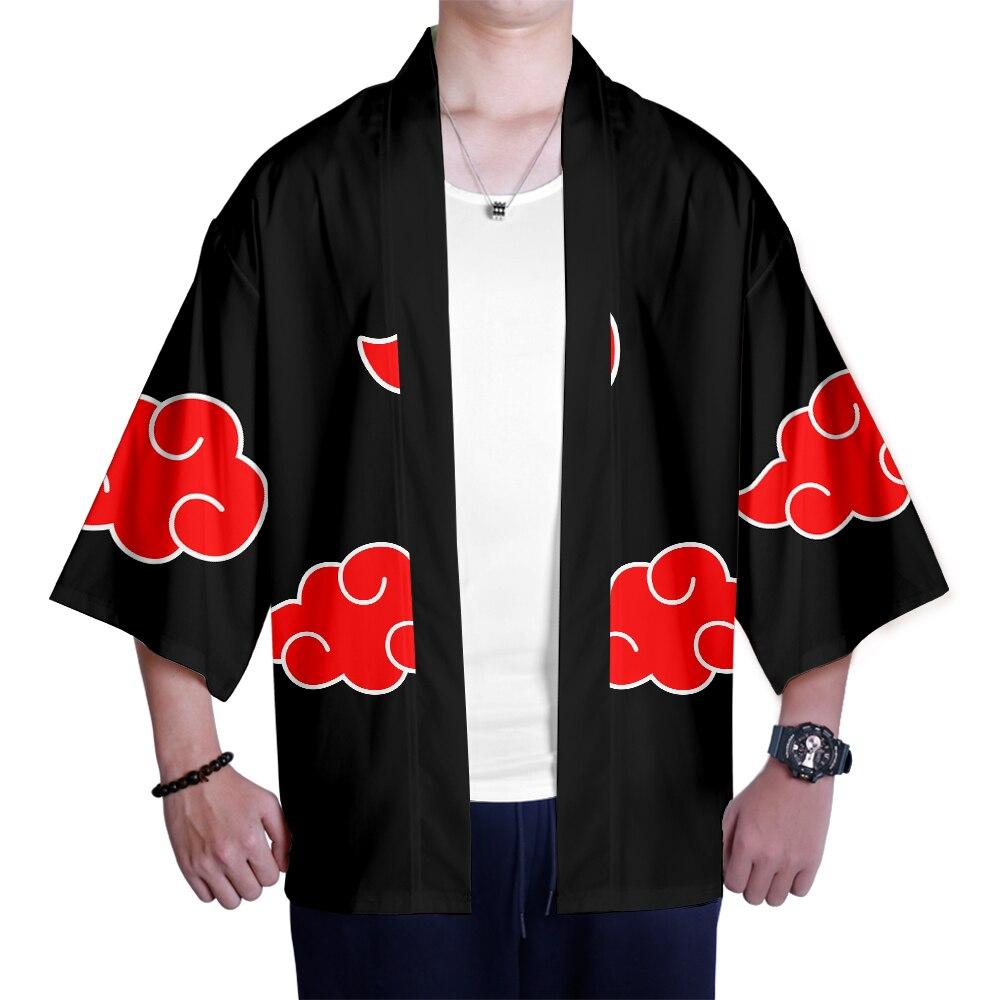 Naruto 3D Kimono Black And Red Fashion Special 3D Printed Naruto Kimono T-Shirt Cardigan Seven-quarter Sleeve Harajuku Style Top