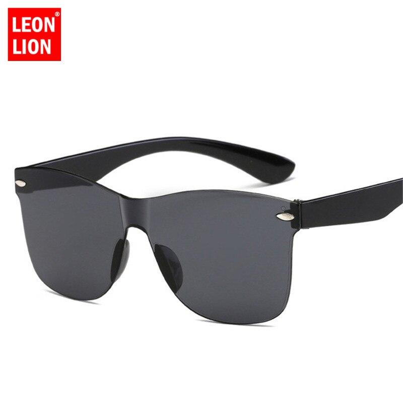 LeonLion 2019 Fashion One-piece Colorful Sunglasses Women Retro Fashion Rimless Sun Glasses Women's Vintage Luxury Brand Eyewear