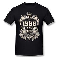 Изготовленным на заказ логосом, родившиеся в марте 1988 33 лет удивительные футболки с надписями «Big Размеры с О-образным вырезом хлопковые фут...