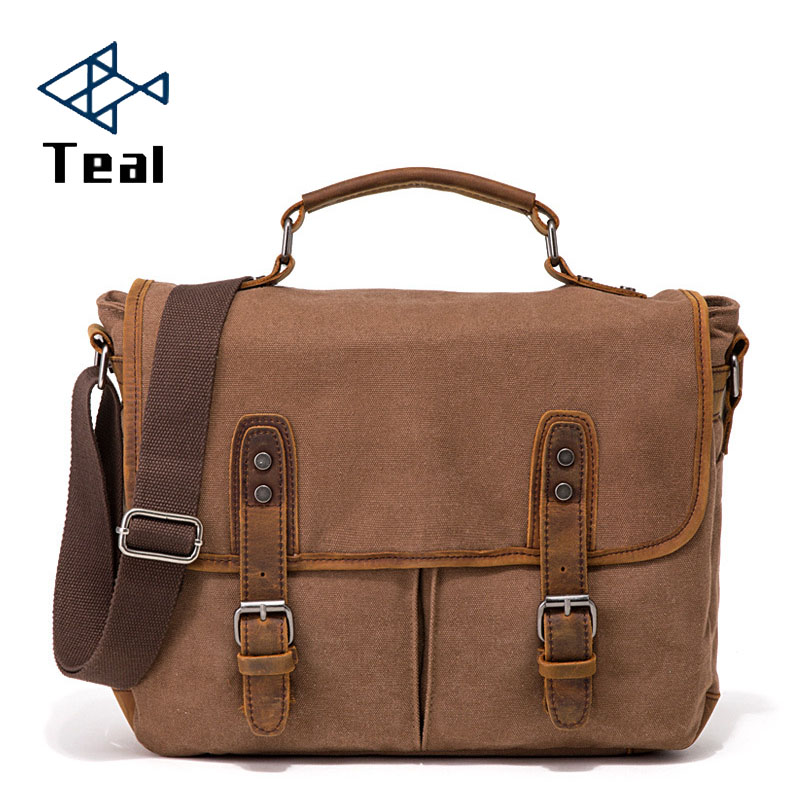 Men Canvas Briefcase Vintage Messenger Bags Fashion Male Bag with leather Business