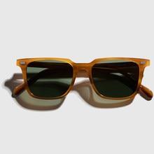 2021 nova vintage acetato óculos de sol masculino retro quadrado polarizado anti-uv400 unidade de óculos de sol de qualidade superior ao ar livre