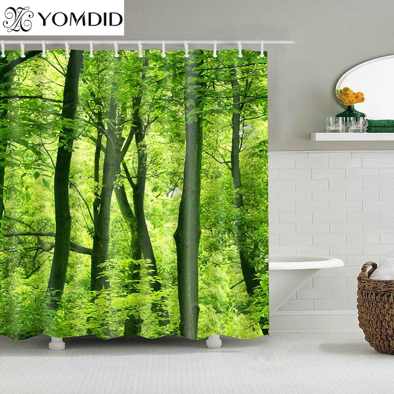 1PC Green Tropical Plants Shower Curtains For Bathroom Polyester Fabric Shower Curtain Leaves Printing Scenic Shower Curtains
