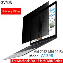 W połowie 2012-w połowie 2015 MacBook Pro 15 cal z wyświetlaczem Retina Model A1398 filtr prywatyzujący ekrany folia ochronna (353mm * 231mm) tanie tanio ZVRUA 16 10 For Mid 2012-Mid 2015 MacBook Pro 15 inch with Retina Model A1398 PC Notebook PET material About 30-45 degree