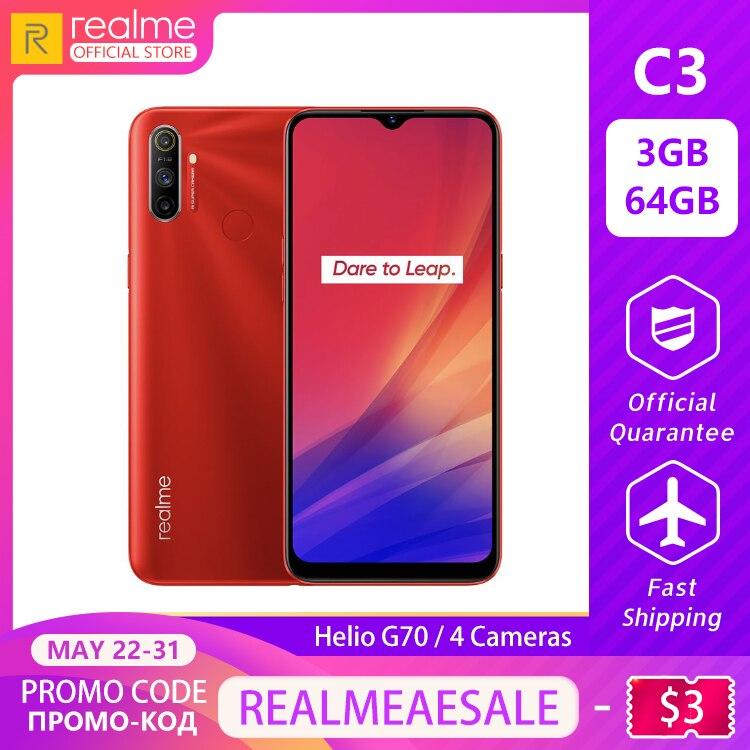 Realme C3 5000mAh Battery Mobile Phone 3GB RAM 64GB ROM Helio G70 Processor 12MP AI Dual Camera HD Mini-drop Fullscreen
