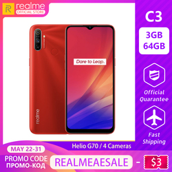 Перейти на Алиэкспресс и купить realme c3 5000mah battery mobile phone 3gb ram 64gb rom helio g70 processor 12mp ai dual camera hd mini-drop fullscreen