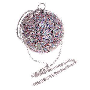 Kopertówka wieczorowa damska torba całkowicie wyłożone kryształkami sprzęgła torebka w kształcie piłki torebki damskie torebki na wesele torby na ramię z łańcuchem