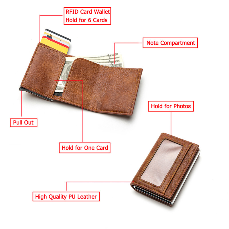 BISI GORO Anti-theft Clutch Wallet Single Box Men Women 2020 Money RFID Blocking Card Holder Business Pop-up Aluminum PU ID Case
