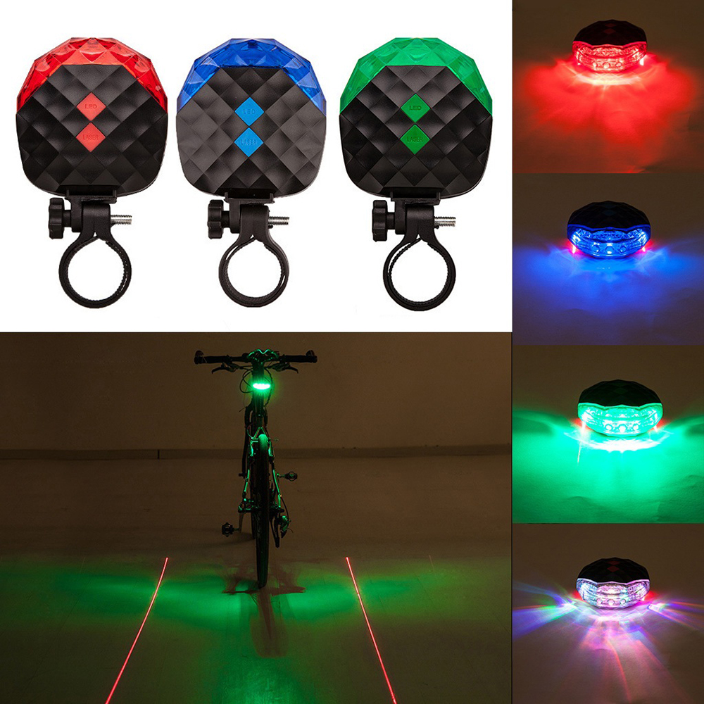 Outdoor LED Laser Taillights Mountain Bike Warning Lights 4 Color Night Cycling lights Safety Taillights Bicycle Accessories