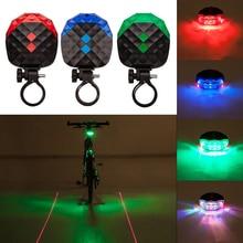Outdoor Led Laser Achterlichten Mountainbike Waarschuwingslichten 4 Kleur Night Fietsen Lichten Veiligheid Achterlichten Fiets Accessoires