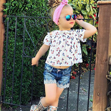 ZAFILLE Baby Girls Clothing Printed Short Sleeve Top+ Jeans Toddler Outfits Sets Summer Kids Clothes 2020 New Baby Girl Suits zafille girls clothing 2pcs lace top leopard skirt baby girl clothes long sleeve toddler outfits sets kids clothes baby clothing