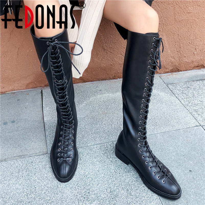 FEDONAS New Winter Warm Zipper High Heels Genuine Leather Women knee high Boots Party Dancing Shoes Woman Sexy Long Riding Boots
