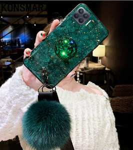 Image 2 - KONSMART Fashion Phone Case Reno 4 Lite Luxury Glitter Marble Silicone Soft Ring Back Cover For OPPO Reno 4lite Case With Strap