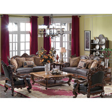 Arabian style villa living room furniture sofa of leather sofa set carved antique luxury sofa set with marble top table GF46(China)