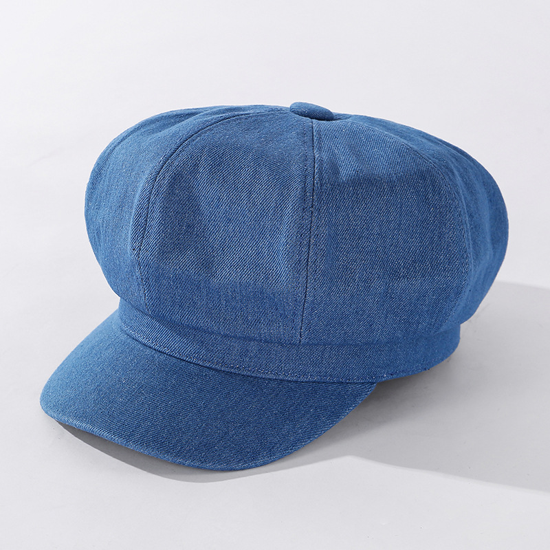 Simple Denim Octagonal Hat for Both Men and Women Fashion Plain Newsboy Hat Star Airport Show Celebrity Inspired Casquette