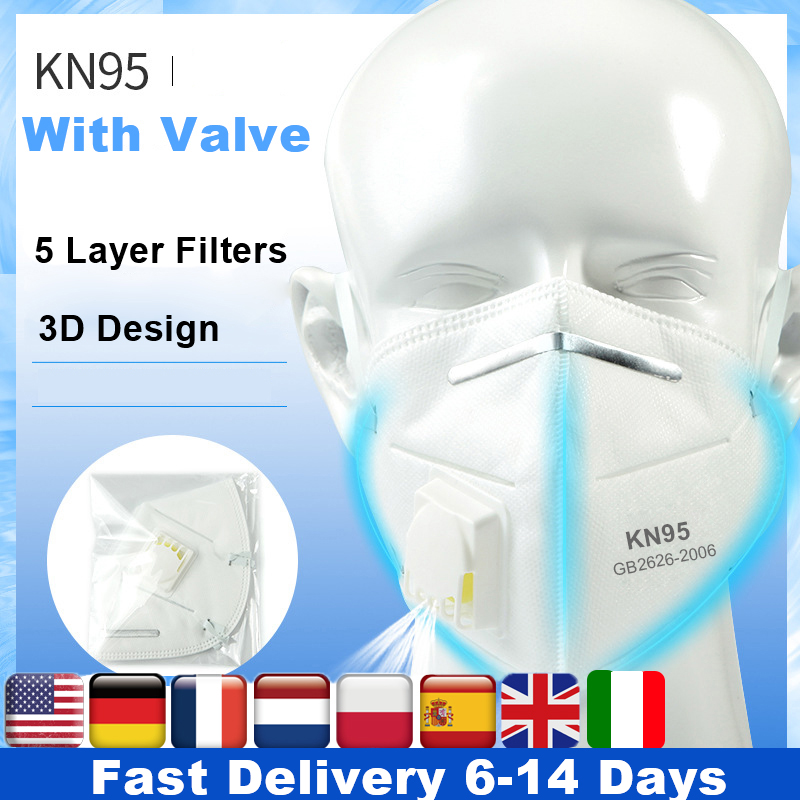 100pcs Mask N95 Respirator Valve Protective Mask Pm2.5 Filter Kn95 Face Mask Ffp3 N95 5 Layer Filters Anti Dust Kn95 Mouth Masks