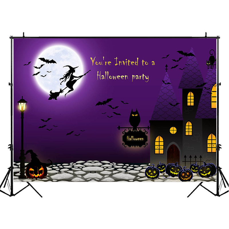 NeoBack Halloween Backdrop Witch Pumpkin Lamp Photo Background Black Cat Kids Children Night Party Photography Backdrops in Background from Consumer Electronics