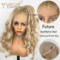 YYsoo 13x6 Synthetic Lace Front Blonde Wigs for Women Half Hand Tied Heat Resistant Fiber Hair Replacement Curly Wigs 150Density