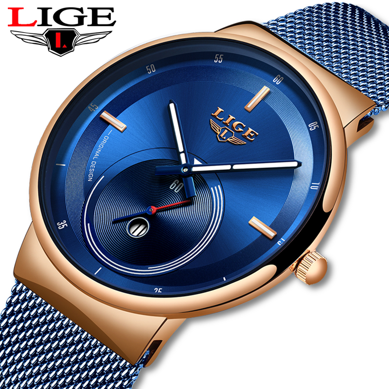 LIGE 2019 New Blue Fashion Unique Design Quartz Watch Mens Watches Top Brand Luxury Man Simple Casual All Steel Waterproof Clock