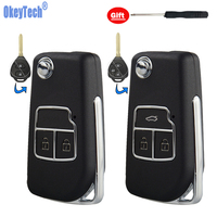 OkeyTech For Toyota Corolla Verso Prius Camry Crown RAV4 Prado Chr Car Flip Folding Smart Modified Key 2/3 Buttons TOY43 Blade
