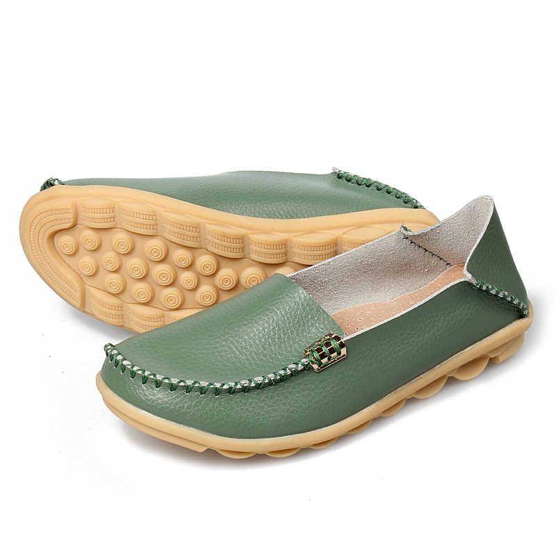 รองเท้าสตรีรองเท้าหนังแท้แฟชั่น Casual Loafers SLIP ON Flats Soft รองเท้ารองเท้าผู้หญิง Breathable รองเท้า Oxford