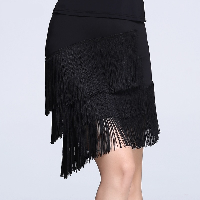 Adult Latin Dance Skirt Women's Large Size Fringed Latin Skirt For Girls Cha Cha Rumba Samba Fringe Sexy Dance Practice Clothing