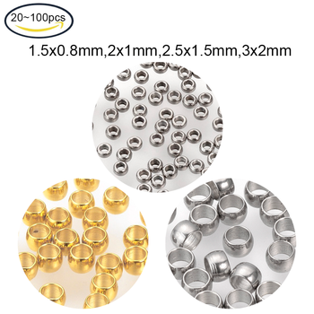 Обжимные бусины из нержавеющей стали 100 для самостоятельного изготовления браслетов, сережек, ювелирных изделий, цвет золотой/нержавеющей стали, 20 ~ 304 шт.|Ювелирная фурнитура и компоненты|   | АлиЭкспресс