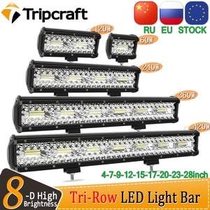 Tripcraft 3 Rows LED Bar 4 - 28 Inch LED Light Bar LED Work Light for Car Tractor Boat OffRoad 4x4 Truck SUV ATV Driving 12V 24V