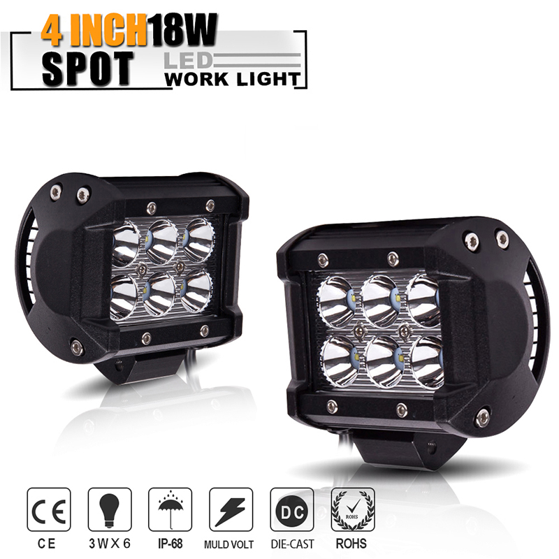 18W 4inch LED Work Light Bars Spot light Beam Headlights For Cars Motorcycle Tractor Boat Off Road 4x4 Truck SUV 12V 24V
