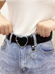 PKWYKLRE Belts Sweetheart-Buckle Heart-Shaped Adjustable Punk Fashion Ladies High-Quality