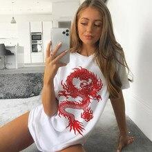 Camisa de manga curta de impressão de dragão chinês tshirt das mulheres de grandes dimensões t camisa harajuku do vintage do sexo feminino roupas
