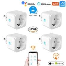 16a wifi tomada inteligente com monitor de energia de energia plugue padrão da ue tuya app controle funciona com alexa google assistente casa