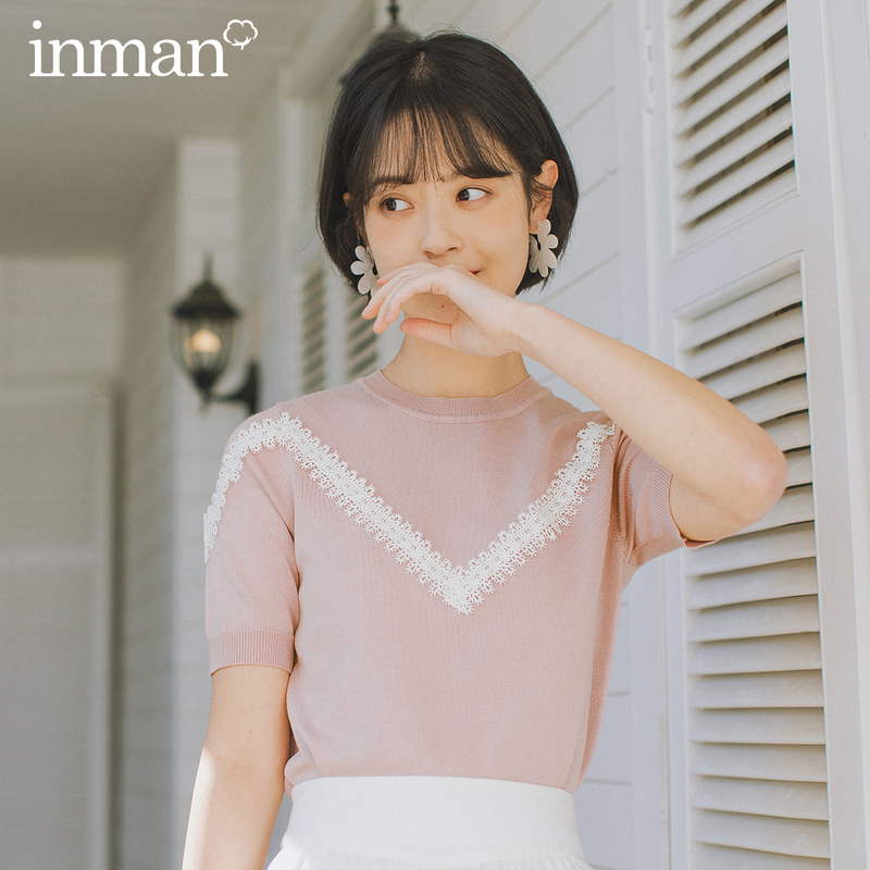 INMAN 2020 Spring New Arrival Literary Age-reducing Round Collar Splicing Lace Short Sleeve Knitwear