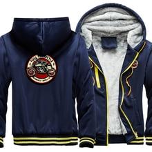 Men Hoodies Streetwear Hip-Hop-Jacket Zipper Winter Casual Thick Full Coat Racer Rockabilly