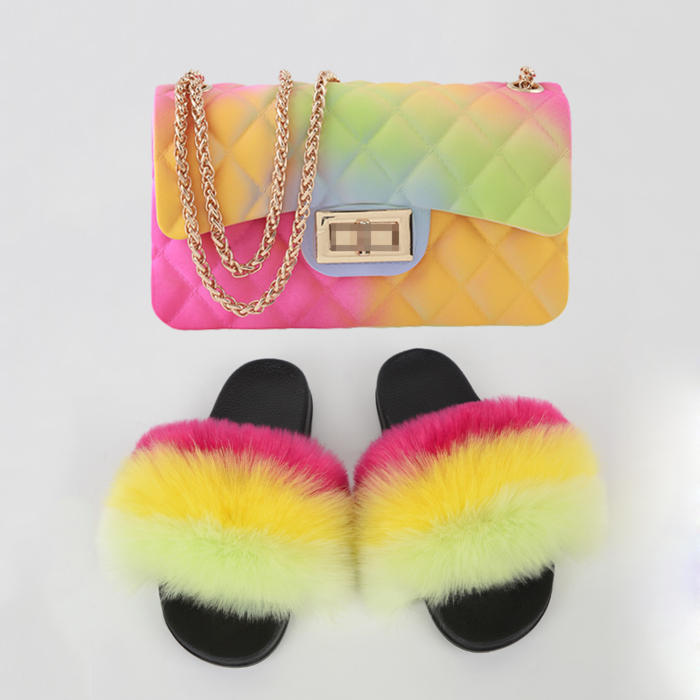 Summer Flip Flops Faux Fox Fur Slippers Colorful Jelly Bag Set Cute Fluffy Slippers New Flops Flat Fur Sandals Home Shoes Women