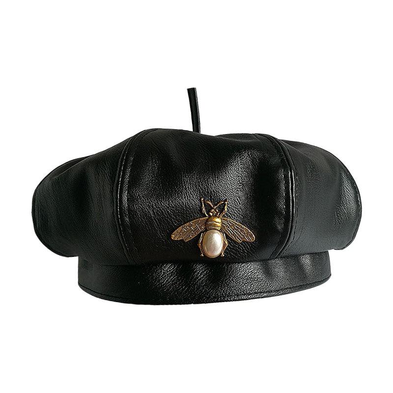 Берет женский винтажный из ПУ кожи, брендовая модная шапка пчела, чёрный, на весну и осень