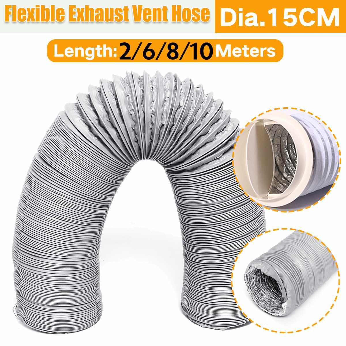 2/6/8/10 Meter Exhaust Pipe Flexible Air Conditioner Exhaust Pipe Vent Hose Duct Outlet 150mm Ventilation Duct Vent Hose