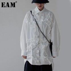 [EAM] Женская свободная белая блузка с оборками и разрезом, новая свободная рубашка с отворотом и длинным рукавом, модная весенняя Осенняя 2020 ...