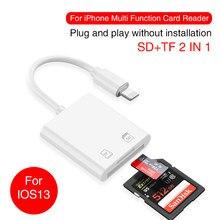 Uthai c57 para iphone multi leitor de cartão de relâmpago para sd tf leitores de cartão de memória suporte ios13 para iphone 6/7/8/x/xr/xs max