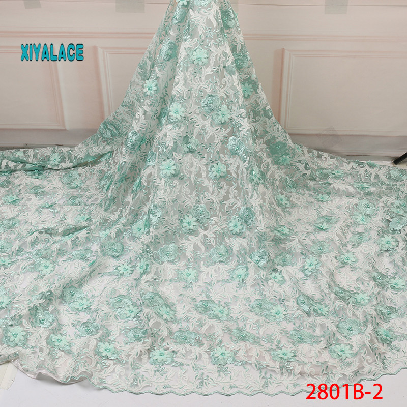 3D Flower Tulle Nigerian Lace Fabrics For Bridal 3D Beads Lace Fabric 2019 High Quality Mesh Embroidery Applique YA2801B-2