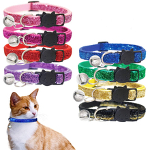 Pet Cat Collar With Bell Breakaway Fashion Adjustable Kitten Cat Sequin Collar Neck Strap Cat Accessories Pet Supplies cat collar pet supplier pet accessories pet calm collar adjustable tpr neck strap cat small dog soothing collar